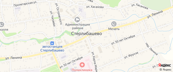 Улица Бикчурина на карте села Стерлибашево с номерами домов