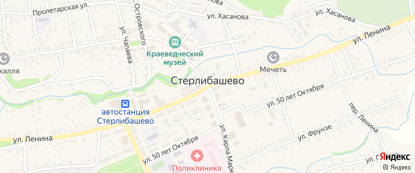 Центральная улица на карте села Стерлибашево с номерами домов