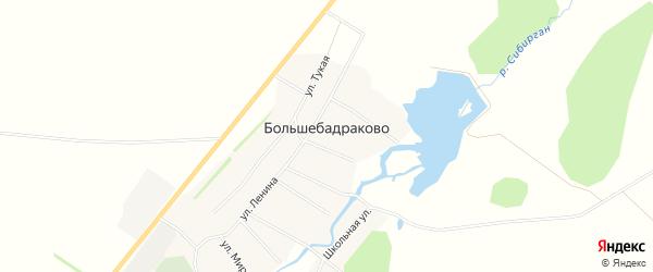 Карта деревни Большебадраково в Башкортостане с улицами и номерами домов