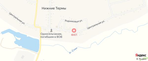 Центральная улица на карте деревни Нижние Термы с номерами домов