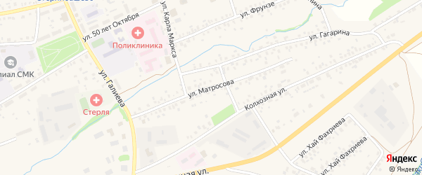 Улица Матросова на карте села Стерлибашево с номерами домов