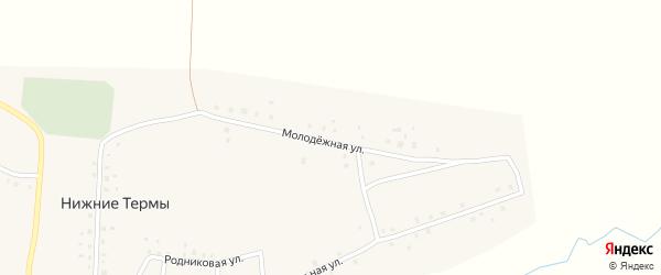 Молодежная улица на карте деревни Нижние Термы с номерами домов