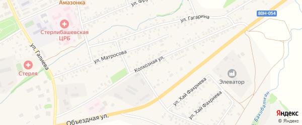 Колхозная улица на карте села Стерлибашево с номерами домов