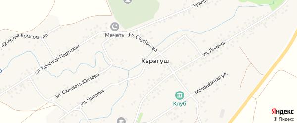 Улица Салавата Юлаева на карте села Карагуша с номерами домов