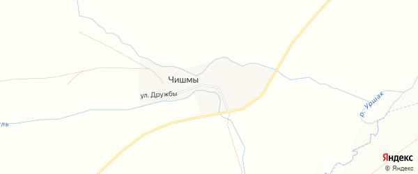 Карта деревни Чишм в Башкортостане с улицами и номерами домов