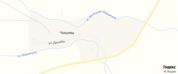 Улица Дружбы на карте деревни Чишм с номерами домов