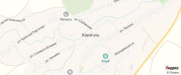 Улица Саубанова на карте села Карагуша с номерами домов