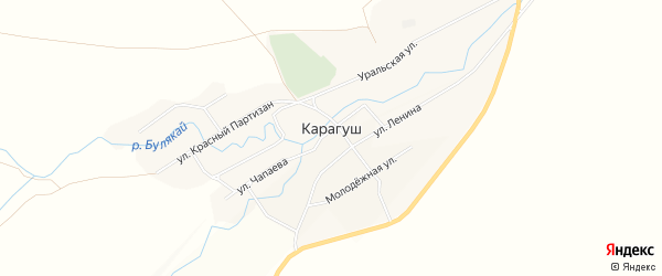 Карта села Карагуша в Башкортостане с улицами и номерами домов