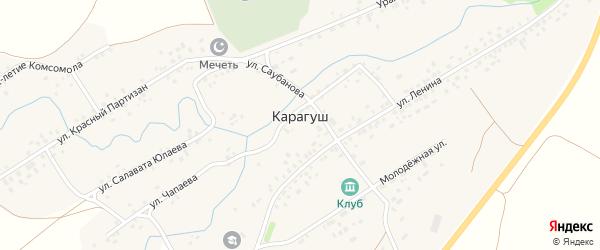Улица Тукаева на карте села Карагуша с номерами домов
