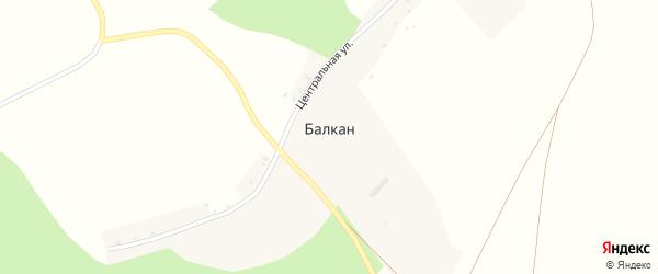 Центральная улица на карте деревни Балкана с номерами домов