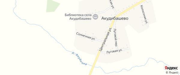 Солнечная улица на карте села Акудибашево с номерами домов