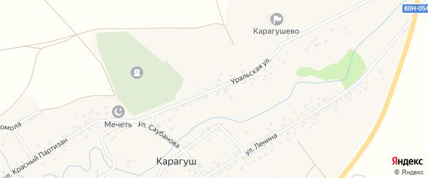 Уральская улица на карте села Карагуша с номерами домов
