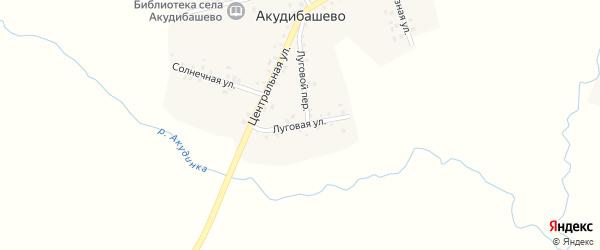 Луговая улица на карте села Акудибашево с номерами домов