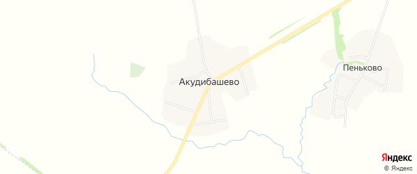 Карта села Акудибашево в Башкортостане с улицами и номерами домов