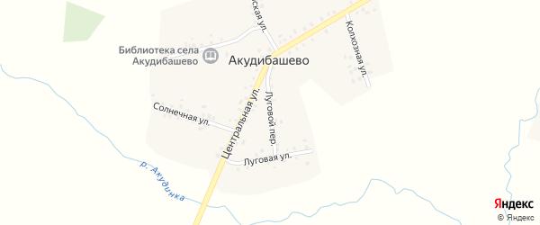 Луговой переулок на карте села Акудибашево с номерами домов