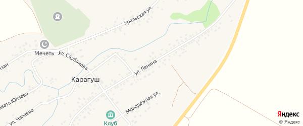 Улица Ленина на карте села Карагуша с номерами домов