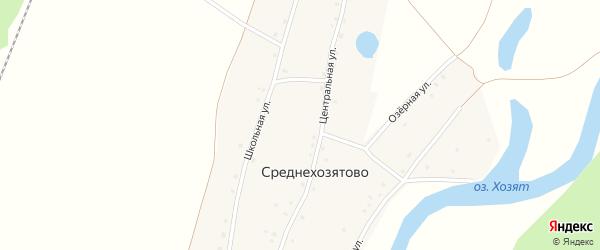 Школьная улица на карте деревни Среднехозятово с номерами домов