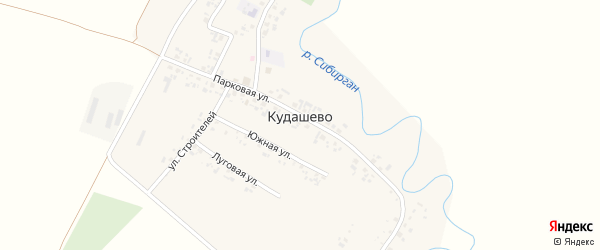 Озерная улица на карте деревни Кудашево с номерами домов