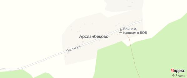Лесная улица на карте деревни Арсланбеково с номерами домов