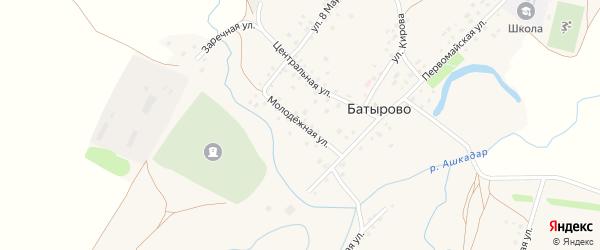 Молодежная улица на карте села Батырово с номерами домов