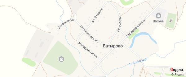 Центральная улица на карте села Батырово с номерами домов