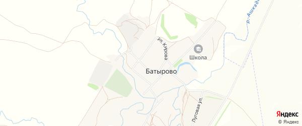 Карта села Батырово в Башкортостане с улицами и номерами домов