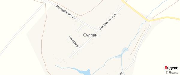 Луговая улица на карте деревни Сулпана с номерами домов