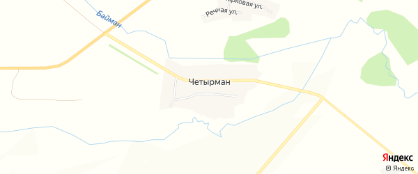 Карта села Четырмана в Башкортостане с улицами и номерами домов