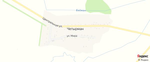 Улица Мира на карте села Четырмана с номерами домов