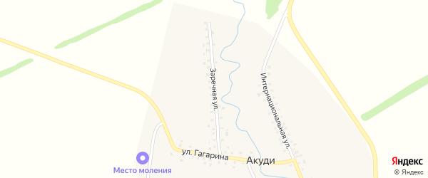 Заречная улица на карте села Акуди с номерами домов
