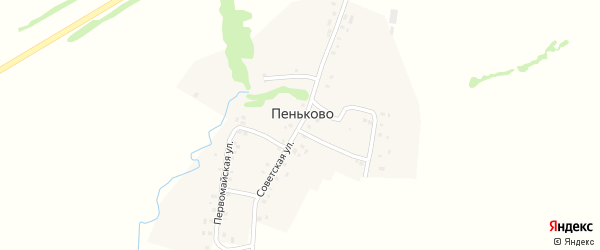 Советская улица на карте села Пеньково с номерами домов
