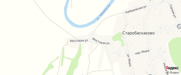 Мостовая улица на карте деревни Старобаскаково с номерами домов