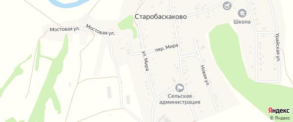 Улица Мира на карте деревни Старобаскаково с номерами домов