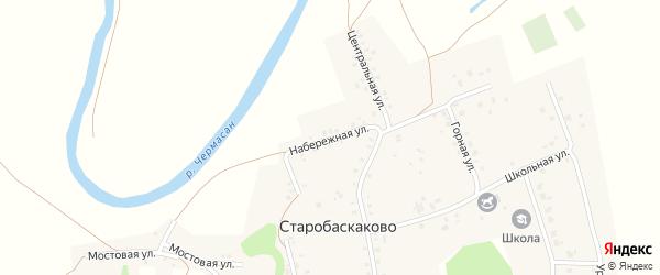 Набережная улица на карте деревни Старобаскаково с номерами домов