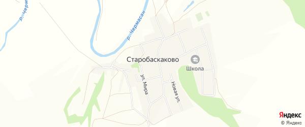 Карта деревни Старобаскаково в Башкортостане с улицами и номерами домов
