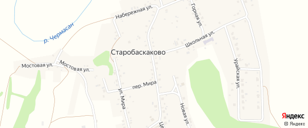 Центральная улица на карте деревни Старобаскаково с номерами домов