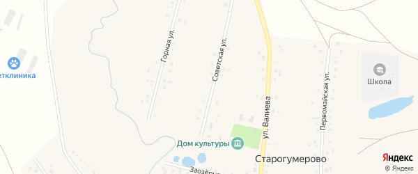 Советская улица на карте села Старогумерово с номерами домов