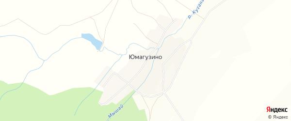 Карта деревни Юмагузино в Башкортостане с улицами и номерами домов
