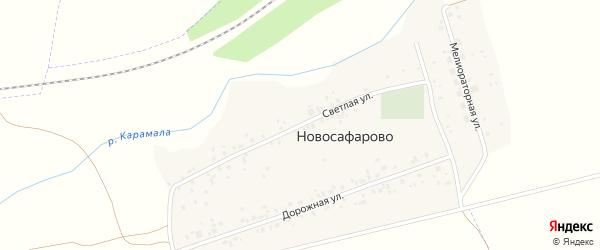 Светлая улица на карте деревни Новосафарово с номерами домов