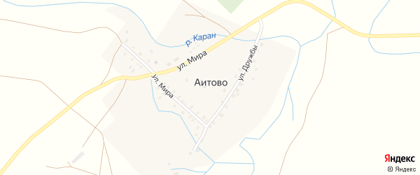 Улица Мира на карте деревни Аитово с номерами домов