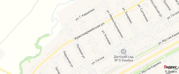 Улица Ахмалетдинова на карте села Кушнаренково с номерами домов