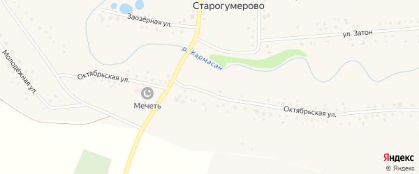 Октябрьская улица на карте села Старогумерово с номерами домов
