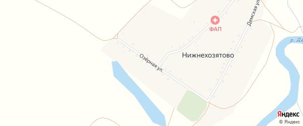 Озерная улица на карте деревни Нижнехозятово с номерами домов