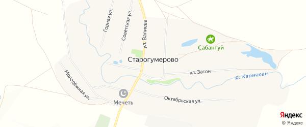 Карта села Старогумерово в Башкортостане с улицами и номерами домов