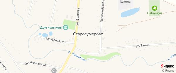 Улица Валиева на карте села Старогумерово с номерами домов