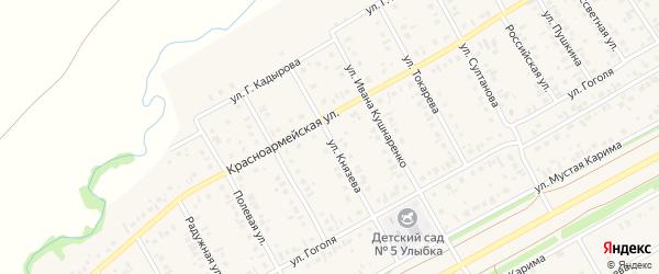 Улица Князева на карте села Кушнаренково с номерами домов