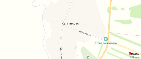 Полевая улица на карте деревни Калмыково с номерами домов