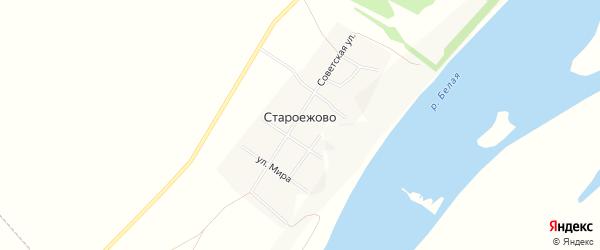 Карта деревни Староежово в Башкортостане с улицами и номерами домов