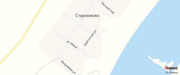 Цветочная улица на карте деревни Староежово с номерами домов