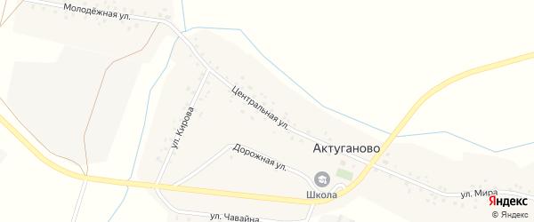 Центральная улица на карте села Актуганово с номерами домов